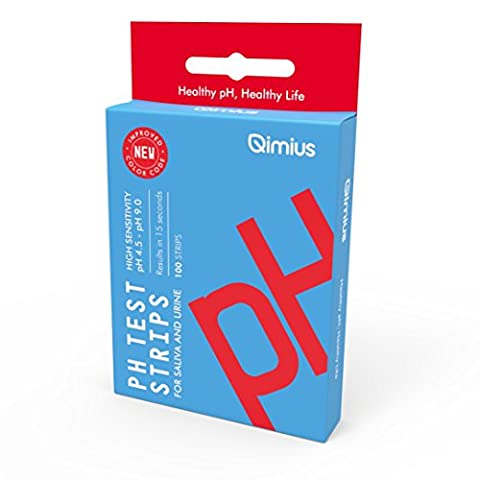 Qimius pH Test Strips (100 ct.) with 4.5 - 9.0 Range | Saliva and Urine Testing Strips for pH level, Results in 15 Seconds | Great for Alkaline Diet Control