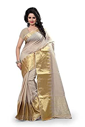 F-Fashion Women's Cotton silk Self design Saree, Cream