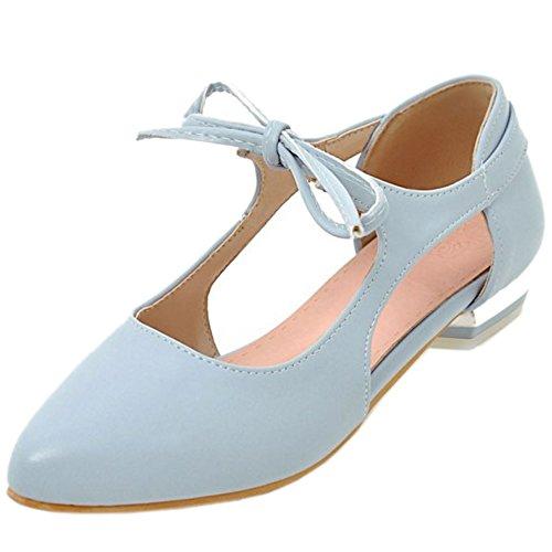 COOLCEPT Damen Mode Schnurung Sandalen Flach Niedrig Absatz Geschlossene Schuhe Gr Blau