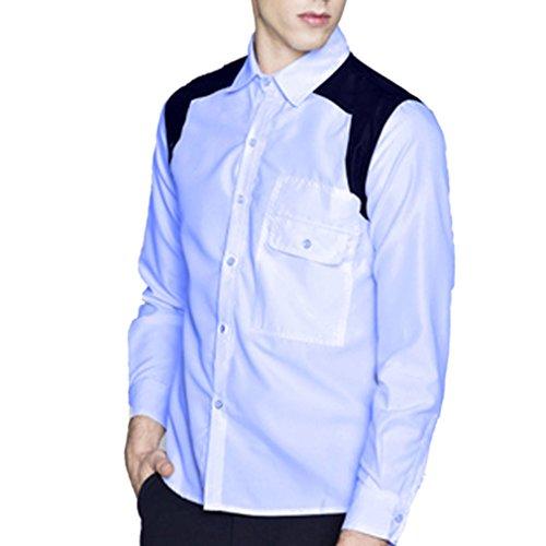 Honghu Homme Casual Slim Fit Manches Longues Joker Chemise Bleu ciel