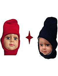 Light Gear Baby Combo Of Winter Woolen Skull Cap, Ideal For 3 To 18 Months (Maroon And Blue)