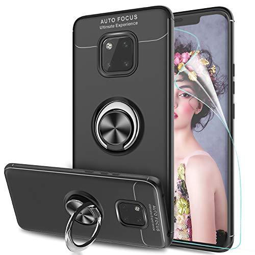 LeYi Hülle Huawei Mate 20 Pro Handyhülle mit HD Folie Schutzfolie,Cover TPU Bumper 360 Grad Ring Stand Magnetische Slim Schutzhülle für Case Huawei Mate 20 Pro Handy Hüllen JSZH Schwarz