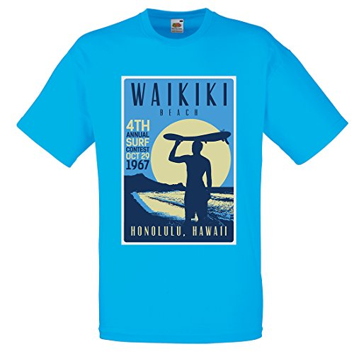 Herren Waikiki Beach Hawaii Surf T-Shirt, Azur, M (96 - 102 cm) (Honolulu Hawaiian Shirt)
