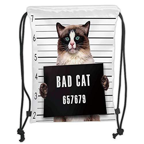Trsdshorts Drawstring Backpacks Bags,Cat Lover Decor,Bad Gang Cat in Jail Kitty Under Arrest Criminal Prisoner Hangover Artsy Work,Brown Black White Soft Satin,5 Liter Capacity,Adjustable STR