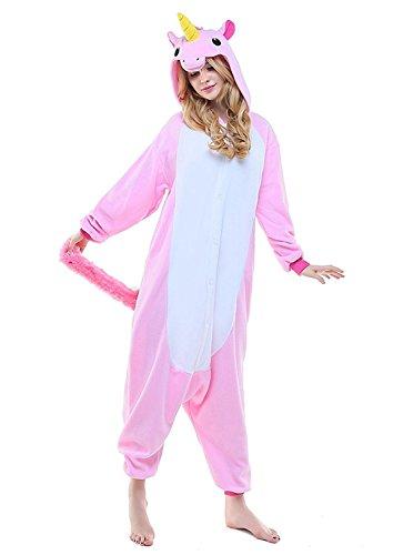 Pyjamas Einhorn Kostüm Jumpsuit Schlafanzug Plüschtier Flanell Cosplay Karneval Fasching (S: für Höhe 148-157, Unicorn Pink)