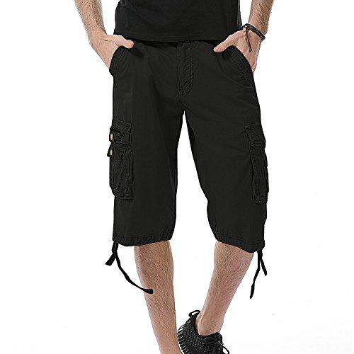 GreatestPAK Pants Pure Color Shorts Herren Outdoor Taschen Strand Arbeit Hosen Cargo Pant (30(S), Schwarz 2) - Herren-baggy-hose