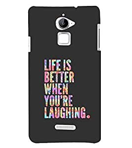 99sublimation rainbow colours typography life motivation life is better when you are laughing Designer Back Case Cover for Coolpad Note 3 Lite :: Coolpad Note 3 Lite Dual SIM