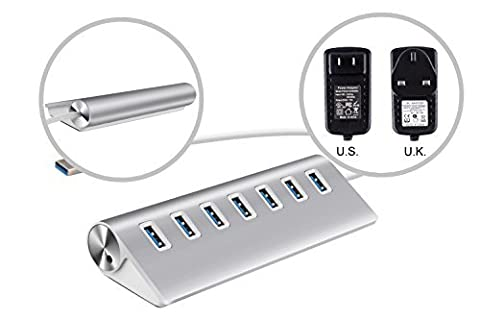 UtechSmart 7 Port USB 3.0 Premium Aluminum Hub with Built-in 10 inch USB 3.0 Cable and 3A Power Adapter for iMac, MacBook Air, MacBook Pro, MacBook, and Mac Mini