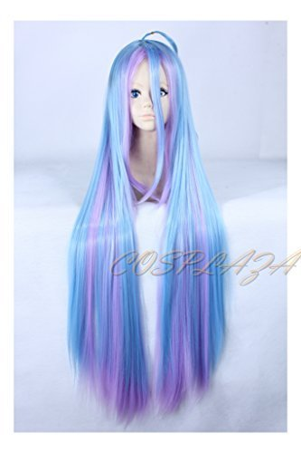 COSPLAZA lang Bicolor cosplay perücke Wigs no game no life Shiro Long Blue Pink Straight Halloween Party ()