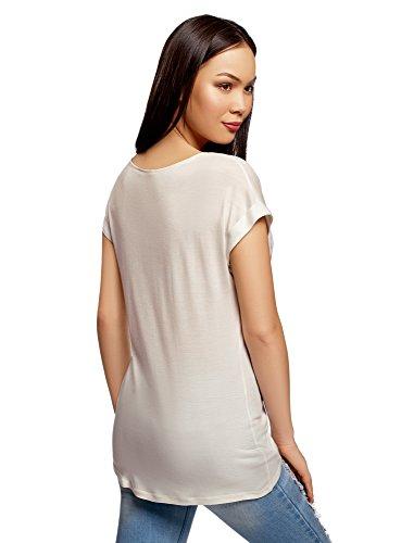 oodji Ultra Donna T-Shirt Stampata a Fiori Bianco (1045P)