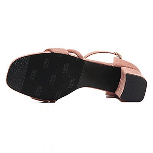 Donna Tacco Alto Fibbia Casual con Cinturino Alla Caviglia Sandali Scarpe Rosa