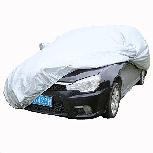 Tomasa Autoabdeckung 482 x 177 x 120cm abdeckhaube für autos Komplett Vollgarage Autoabdeckplane Wasserdicht Anti UV Autoschutzhülle vor Sonnen Regen und Stau mit Tragetasche(DE LAGER)