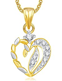 Valentine Gifts Meenaz Heart Pendants For Women Girls With Chain Gold Plated In American Diamond Jewellery Set...