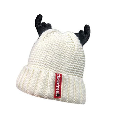 Ears Warmer Christmas Mütze Damen Mädchen Gestrickt verdicken Hut Kaschmir Geweih Hut Strickschal Strickmütze Wintermütze ()