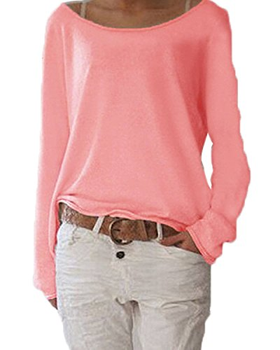 ANDERINA New Damen Pulli Langarm T-Shirt Rundhals Ausschnitt Lose Bluse Langarmshirts Hemd Pullover Oversize Sweatshirt Oberteil Tops Shirts Rosa L