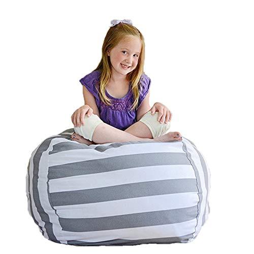 Sobotoo Stauraum Sitzsack–Leinwand Gestreift Stuffed Animal Sitzsack Mini Sofa Kinder Plüsch Spielzeug Kleidung Organizer für Spielzeug, Kleidung, Decken, Quilts