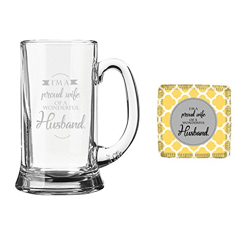 YaYa Cafe Birthday Gifts For Husband Proud Wife Of Wonderful Engraved Beer Mug And Coaster