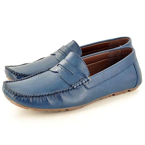Men'Slipper, Leder s Casual Mokassins Slipper Driving Schuhe Blau