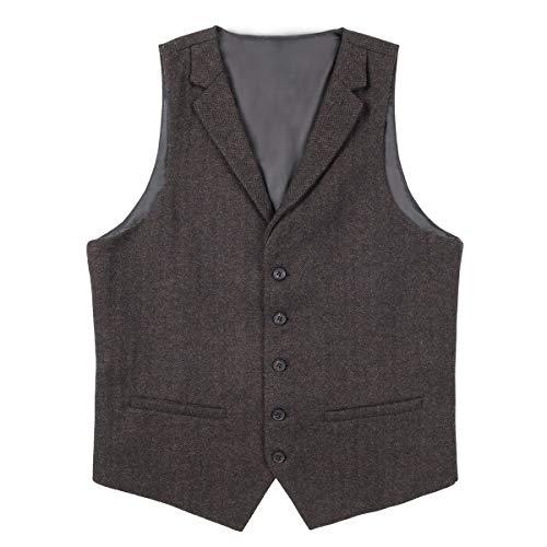 VOBOOM Herren Weste mit maßgeschneidertem Kragen Woll Tweed Anzugweste,Kaffee,L