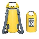 Borsa Impermeabile 10L/20L Borse Stagna Dry Bag per Rafting Viaggio Kayak Canoa Nuoto Pesca Campeggio Snowboard ect Attività all'Aperto e Sport d'Acqua (Giallo 20L)