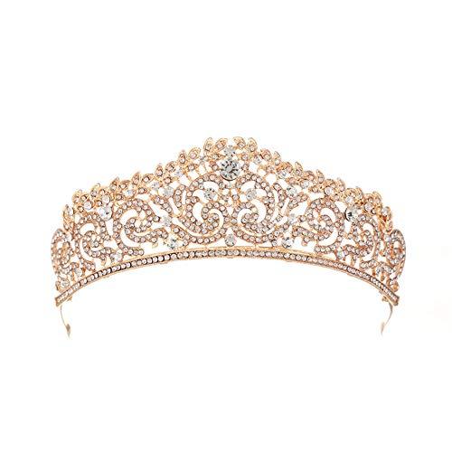 one Hochzeit Prom Brautkrone Strass Kristall Dekor Stirnband Schleier Tiara(Gold) ()