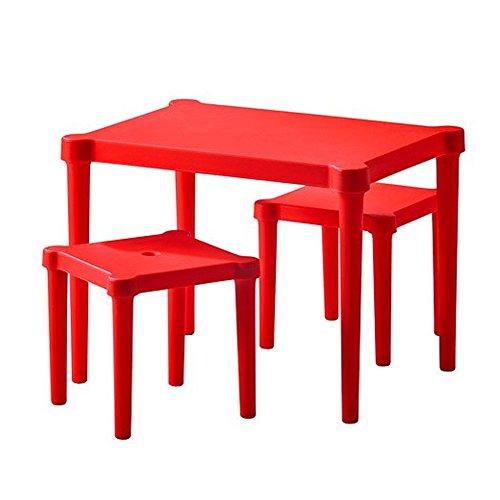 Ikea Utter Kindertisch mit 2 Hockern; in Rot; für Drinnen und draußen