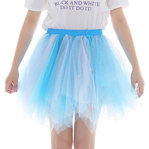 Andouy Damen Tutu Rock Tüll Mix Bunte Petticoat Ballett Tanz Organza Geschichteten Kostüm Dress-up sexy Größe 36-46(36-46,Mischen Sie Sky Blue) -