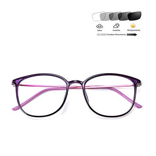 HQMGLASSES Intelligente photochrome Lesebrille, progressiver Multifokus-Leser HD-Objektiv-UV-Schutz - Strahlenschutz-Leselupe +1.0 bis +3.0,Lila,+1.0