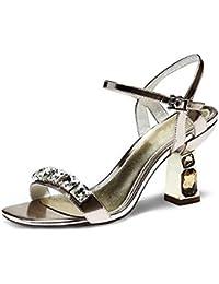 Coolcept Zapato Mujer Moda Al Tobillo Dedo del Pie Cerrado D'Orsay Tacon Ancho Medio Sandalias (33 EU, Silver)