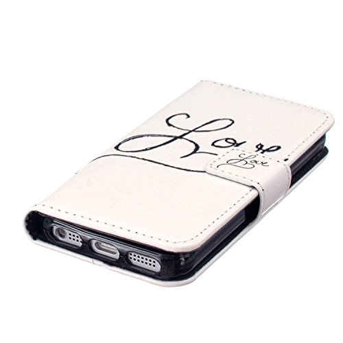 iPhone 6S Coque [avec gratuit 1x protection d'écran et 1x Stylet] Premium PU Cuir Portefeuille Coque pour iPhone 6, CE Flip Folio Couverture de livre de luxe 3d double cœurs Sablier Bling Sparkle Pa C1 Love