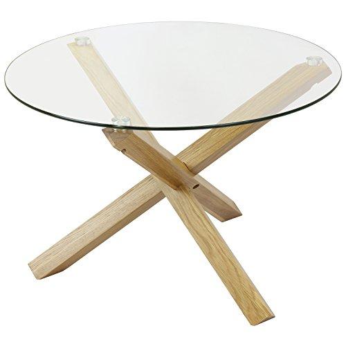 Hartleys tavolino rotondo di vetro e legno di quercia