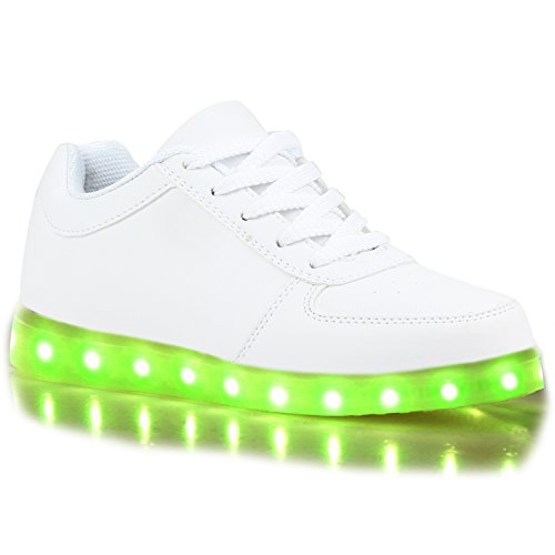 Sportliche Damen Sneakers Low Kunstleder Freizeitschuhe Weiß