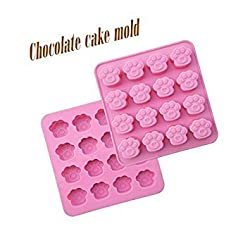 Clest F&H DIY 16 Holes Bear Claw Shape Silicone Chocolate Ice Trays Handmade Soap Mold Baking Tools