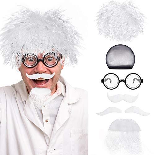 Ein Nerd Kostüm - Mad Wissenschaftler Perücken Set, Enthalten Albert