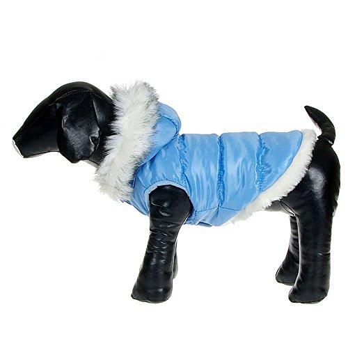 (Weihnachten Hund Kleider Haustier Unten Jacken Winter Warm Baumwolle Kleider Für Hunde Katzen, Größe L, Farbe Blau)