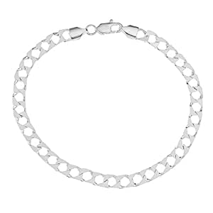 Ornami SC321/8 Men's Silver Square Curb Bracelet 20 cm in Length