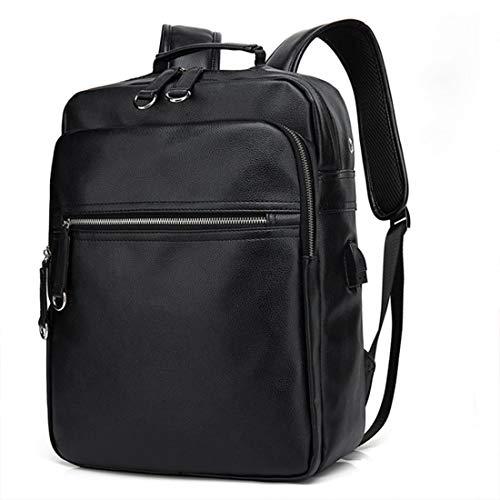 WHWH Herren Leder Rucksack Business Gepäck Rucksack Anti-Theft Rucksack Dokumententasche Regenschutz Laptop Tasche Kurzstrecken Reisetasche,USB Black -OneSize - Leder Gepäck Griffe