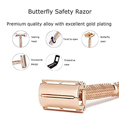 Rose Gold Butterfly Safety Razor Kit, Double Edge Razor Shaver for Men Women, Fitted with Travel Case by Rangale - Great for Gift