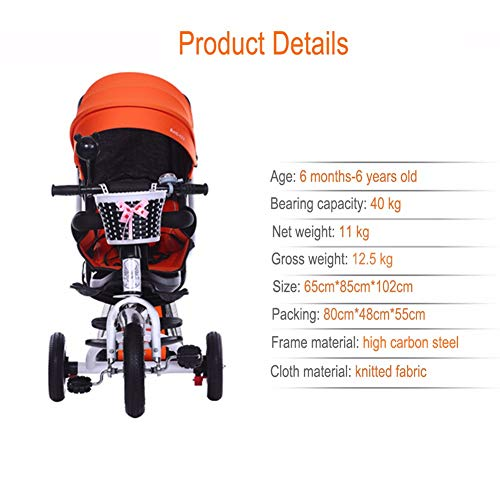 GSDZSY - 4 IN 1 Luxury Children Tricycle, Adjustable Seat, Baby Can Sit Or Lie Flat, Foldable Frame With Shock Absorber, 1-6 Years Old