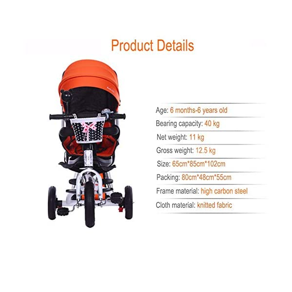 GSDZSY - 4 IN 1 Luxury Children Tricycle, Adjustable Seat, Baby Can Sit Or Lie Flat, Foldable Frame With Shock Absorber, 1-6 Years Old GSDZSY ❀ Material: High carbon steel + ABS + rubber wheel, suitable for children from 1 to 6 years old, maximum load 30 kg ❀ Features: The frame can be folded, the seat can be rotated 360; the backrest can be adjusted, the baby can sit or lie flat, the push rod and the parasol can be adjusted, suitable for different weather conditions ❀ Performance: high carbon steel frame, strong and strong bearing capacity; rubber wheel suitable for all kinds of road conditions, good shock absorption, seat with breathable fabric, baby ride more comfortable 3