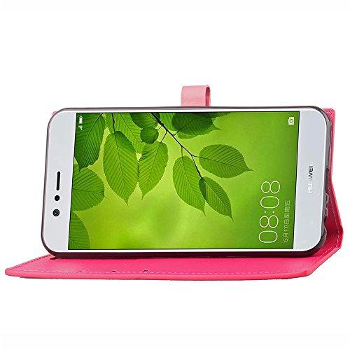 Business Style Mixed Farben Slim Design PU Ledertasche Brieftasche Stand Case [Shockproof] mit Niet Echtes Leder Gürtel & Kickstand & Card Slots für Huawei Nova 2 ( Color : Wine ) Rose