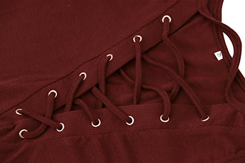 Swallowuk Donne Sexy Casual Senza Spalline Manica Lunga Collare V Maglietta (L, Nero) Vino rosso
