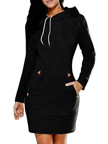 Lueyifs Übergröße Langarm Oversize Sport Casual Damen Kapuzen Pullover Hoodie Herbst Sweatshirt Pulli Kleid mit (Kleid Kapuzen Schwarze)