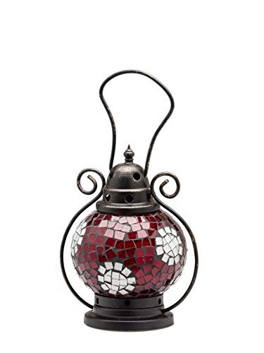 Windlicht Laterne Lampe Teelicht Garten Terasse Haus Glas rot weiss 20cm Orient