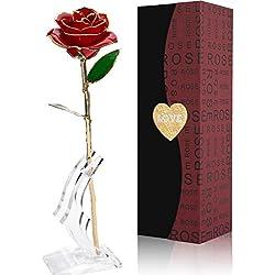 Rose, Magicpeony 24k Gold Rose Echte Konservierte Rose mit Echtem Grünen Blatt - mit Geschenkbox für Frau Freundin/ Muttertag/ Geburtstag/ Hochzeitstag/ Jahrestag Geburtstag Künstliche Rose (Rote Blume mit Stand)