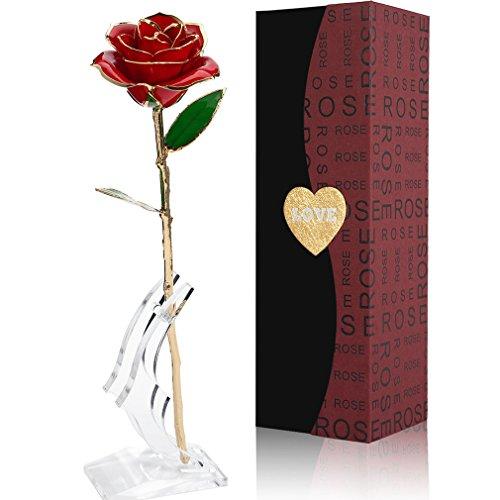 Rosa 24K chapado en oro Flor Rosa y caja de regalo