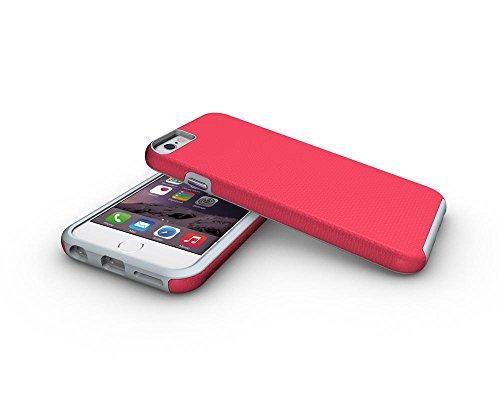 Coque pour iphone 6/6s,Antichoc Téléphone Cas pour iPhone 6 6s, PC + TPU 2-couches Hybride Plein-Corps Protéger Case pour Apple iPhone 6 Anti-Frapper Téléphone Shell -Rouge Rouge
