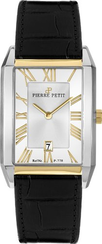 Pierre Petit Men's P-778B Serie Paris Two-Tone Rectangular Black Leather Date Watch