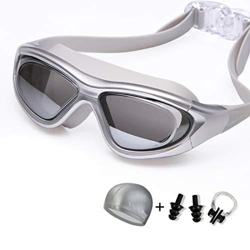 Funytine Brille HD Anti-Fog wasserdichte große Box Männer und Frauen Schwimmen Brille mit Badekappe Ohrstöpsel Nase Clip (Color : Silver)