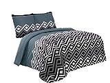 Buymax - Bettwäsche Set mit Einem Bettbezug und Zwei Kopfkissenbezügen Reißverschluss, 200x220 cm, Petrol Schwarz
